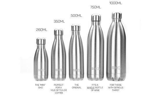 SHO Bottle available in different sizes
